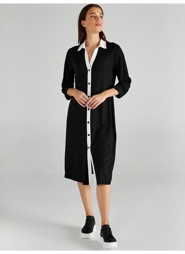 Faik Sönmez  Kontrast Renkli Örme Gömlek Elbise 61254 Siyah